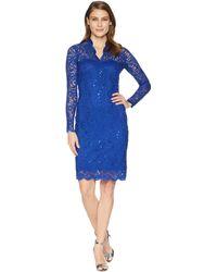 Marina - Long Sleeve Scalloped Stretch Lace Short Dress - Lyst