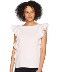 Lauren by Ralph Lauren - Ruffled Cotton Top - Lyst