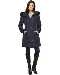 Jessica Simpson - Long Puffer W/ Waist Detail Hood And Faux Fur - Lyst