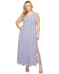 74401b818a434 Michael Kors Michael Sleeveless Printed Belted Maxi Dress in Green - Lyst