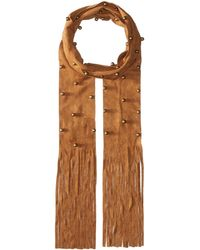 Steve Madden - Bauble Studded Faux Suede Skinny Scarf - Lyst