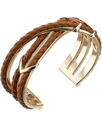 Cole Haan - Chevron Metal & Leather Braided Cuff - Lyst