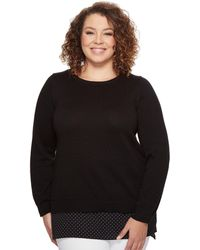 MICHAEL Michael Kors - Plus Size Long Sleeve Tiny Dot Hem Sweater - Lyst
