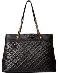 Tory Burch - Fleming Triple Compartment Tote (black) Wallet Handbags - Lyst