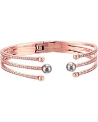 Michael Kors - Pavé Crystal And Grey Pearl Hinged Bracelet - Lyst