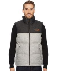 Lyst - The North Face Nuptse Water Repellent Down Vest in Gray for Men 35c294468