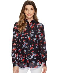 Lauren by Ralph Lauren - Floral Crinkled Silk-blend Blouse - Lyst