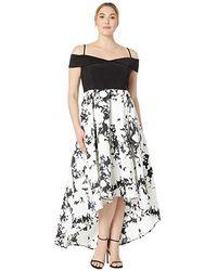 c6ee403dc1f Marina - Plus Size Off Shoulder Hi-low Jersey Bodice Dress With Print  Mikado Skirt