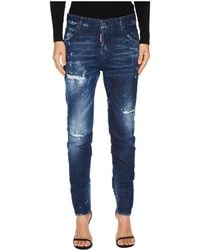 DSquared² - Cool Girl Stitched And Distressed Jeans In Blue - Lyst