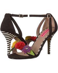 87a6d0e8841 Lyst - Schutz Cruz Lace-up Suede Block Heel Sandals in Brown