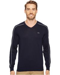 Lacoste - Jersey And Pique Sweater With White Outlined Croc - Lyst