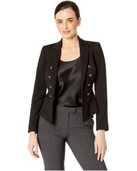 Tahari - Peak Lapel Dome Button Kissing Jacket With Welt Pockets - Lyst