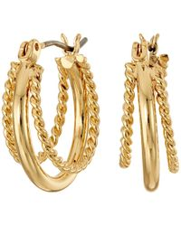 Lauren by Ralph Lauren - Perfect Pieces Twisted And Smooth Triple Hoop Earrings - Lyst
