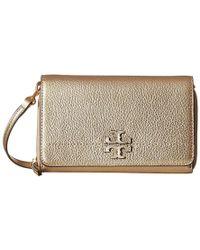877da2ca3 Tory Burch - Mcgraw Metallic Flat Wallet Crossbody (gold) Cross Body  Handbags - Lyst