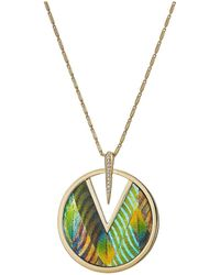 """Vince Camuto - 30"""" Inlaid Leather Pendant Necklace - Lyst"""
