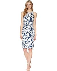 098113da26b6a5 Lyst - Adrianna Papell Daisy Field Floral Sheath Dress With Lace Up ...