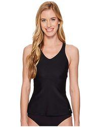 ad61498004 Nike Plus Size Solid Cross-back Tankini (monsoon Blue) Women's Swimwear in  Black - Lyst