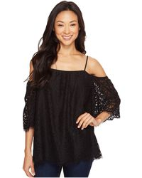 Vince Camuto - Elbow Sleeve Cold-shoulder Geo Lace Blouse - Lyst
