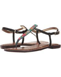 5c5bbe71b Lyst - Sam Edelman Gigi Snake-Print Leather Sandals in Black