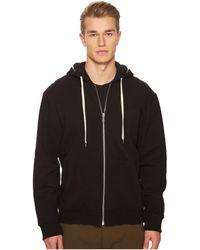The Kooples - Black Hoodie Sweatshirt With Zip Detailing - Lyst