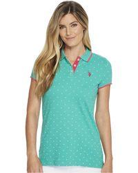U.S. POLO ASSN. - Stretch Pique Dot Print Polo Shirt - Lyst