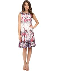 Adrianna Papell - Floral Print Bateau Neck Fit And Flare Dress - Lyst