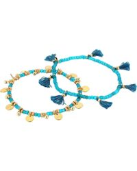 Shashi - Set Of 2 Tassel And Disc Bracelets - Lyst