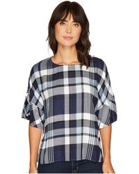 Two By Vince Camuto - Ruffled Short Sleeve Relaxed Broken Plaid Tee - Lyst