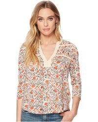 Lucky Brand - Long Sleeve Floral Tie Top - Lyst