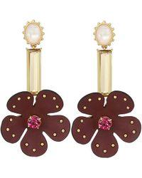 cc3bc59da Kate Spade - Blooming Bling Leather Linear Earrings (russet Multi) Earring  - Lyst