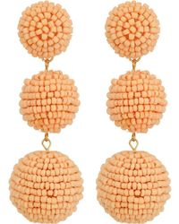 Kenneth Jay Lane - 2 Peach Pink Seed Bead Wrapped Ball Post Earrings W/ Dome Top - Lyst