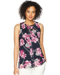 Ellen Tracy - Shirred Neck Sleeveless Top - Lyst