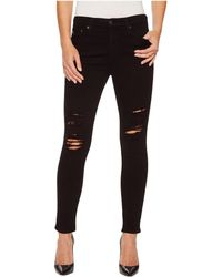 AG Jeans - Farrah Skinny Ankle In 5 Years Black Destructed - Lyst