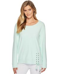 Mod-o-doc - Soft As Cashmere Cotton Interlock Sweatshirt W/ Asymmetrical Lace-up - Lyst