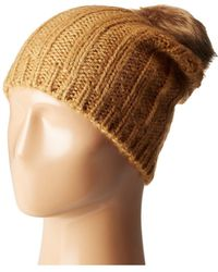 Hat Attack - Rib Slouchy With Faux Fur Pom - Lyst