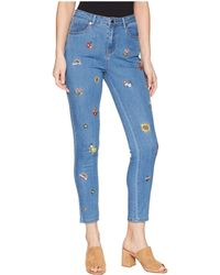 Romeo and Juliet Couture - Floral Embroidery Detail Denim Pants - Lyst