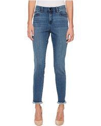 Ivanka Trump - Denim Fringe Boot Leg Jeans In Vintage - Lyst