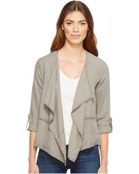 528771baddc Mod-o-doc - Chambray Roll-up Sleeve Drapey Jacket - Lyst