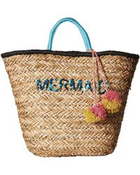 San Diego Hat Company - Bsb1729 Seagrass Tote With Mermaid Embroidery With Pom - Lyst