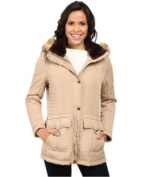 Jessica Simpson - Quilted Anorak W/ Removable Hood And Faux Fur - Lyst