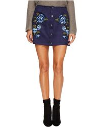 Jack BB Dakota - Caliyn Scuba Faux Suede Skirt With Floral Patches - Lyst