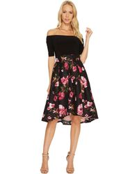 Adrianna Papell | Printed Tafetta Fit And Flare Dress | Lyst