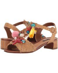 Dolce & Gabbana - Raffia T-strap Sandal With Shells 30mm - Lyst