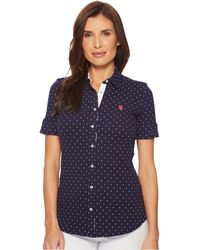 U.S. POLO ASSN.   Short Sleeve Dotted Blouse   Lyst