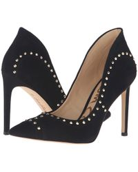 45175f3bd35453 lyst sam edelman hayden court shoes black suede gold studded heels ...