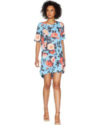 Nally & Millie - Blue Floral Print Dress - Lyst