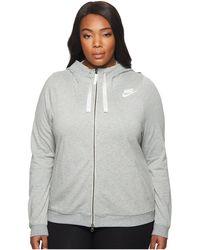 44c3785ceb82 Lyst - Nike Plus Size Rally Full Zip Extended Hoodie in Black - Save ...