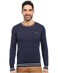 Lacoste - Long Sleeve Double Face Chine Stripe Crew Neck Sweater - Lyst