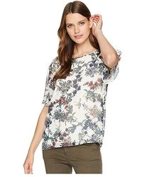 3263b603eaf8a3 Vince Camuto - Ruffled Short Sleeve Garden Heirloom Floral Blouse (antique  White) Blouse -