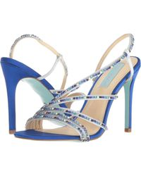 69156b9d47ff Lyst - Betsey Johnson Blue By Aces Metallic Jeweled Satin Strappy ...